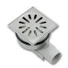 Afvoerput, rvs 304, kunststof zijaansluiting, niet in hoogte verstelbaar, 100 x 100 mm, za 40 mm