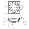 Afvoerput, rvs, draai-, kantel-, en in hoogte verstelbaar, 150 x 150 mm, za 50 mm