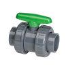 VDL pvc kogelafsluiter, 2x inwendig lijm/2x wartel, groene handgreep, 10 bar, 90 mm, viton