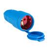 Schwabe koppelcontactstop, rubber, 230 V, IP44, blauw