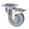 TENTE zwenkwiel, rvs, elastisch rubber, dubbele rem, plaatbevestiging, 125 mm