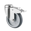 TENTE zwenkwiel, rvs, thermoplastisch rubber, dubbele rem, boutgatbevestiging, 125 mm