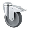 TENTE zwenkwiel, thermoplastisch rubber, boutgatbevestiging, dubbele rem, 100  mm,  2477PJO100P30