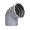 Pvc bocht 67°, manchet x spie, grijs, SN4, 160 mm