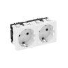 OBO wandcontactdoos, met randaarde, 2-voudig, 0°, bovenaansluiting, 250 V, 10/16A, zuiver wit