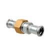 """Bonfix PRESS 3-delige koppeling, rvs, vlak, wartel / 2x pers, ¾"""" x 15 mm, Kiwa"""
