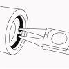 Promat borgringtang, gebogen, voor binnenringen, model J 01, voor boringen Ø 8-13 mm