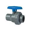 VDL PVC-Kugelhahn, 2x Innenverklebung/1x Überwurfmutter, blauer Handgriff, 16bar, EPDM, 40 mm