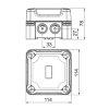 OBO kabeldoos, pc, type X04 SW, grafietzwart, RAL 9011, 114 x 114 x 78 mm, IP 67, 750 V