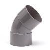 Pipelife pvc bocht 45°, 2x inwendig lijm, grijs, KOMO, 125 mm