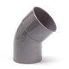Pvc bocht 45°, inwendig x uitwendig lijm, grijs, KOMO, 160 mm