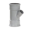 Pipelife pvc verloop T-stuk 45°, 2x manchet/1x inwendig lijm, grijs, KOMO, SN4, 110 x 75 mm