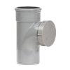 Pipelife pvc ontstoppingsstuk met schroefkap, manchet x spie, grijs, KOMO, SN4, 110 mm