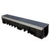 Nicoll PP-Entw.-Rinne Kenadrain HD100, RAL5008, 2x Gussrost, Wellend., 100x17cm, Steg 6mm, C250