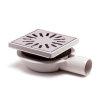 Abs-vloerput+opzetst.+rvs rooster, h=verstel-,draai-+kantelbaar, 146 x 146 mm, zijuitlaat