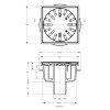 Afvoerput, rvs rooster 304, niet in hoogte verstelbaar, 150 x 150 mm, oa 50 mm