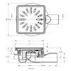 Afvoerput, rvs rooster, draai-, kantel-, en in hoogte verstelbaar, 150 x 150 mm, laag, za 50 mm