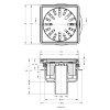 Afvoerput, rvs rooster, draai-, kantel-, en in hoogte verstelbaar, 150 x 150 mm, oa 50 mm