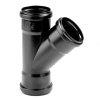 Dyka pp T-stuk, zwart, 45°, 3x manchet, KOMO, 90mm
