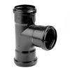 Dyka pp stroom T-stuk, zwart, 90°, 3x manchet, KOMO, 160 mm
