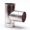 Aluminium T-stuk, enkelwandig, 90°, 1x inwendig/2x verjongd spie, 130 mm