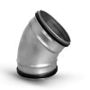 Spiraliet bocht 45°, met epdm ring, 2x verjongd spie, 100 mm