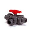GF pvc 3-weg kogelafsluiter, type 543/90°, PN 10, 3x uitwendig lijm/3x wartel, 40 mm