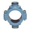 """Unidelta pp aanboorzadel, 2x binnendraad,  blauw, incl. bouten en moeren, 110 mm x ½"""""""