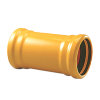 Pipelife slagvaste pvc overschuifmof, geel, Gastec QA, 2x manchet, 63 mm