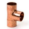 Roodkoperen T-stuk 90°, 3x inwendig capillair, 42 mm