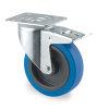 TENTE zwenkwiel, elastisch rubberband, dubbele rem, plaatbevestiging, 100 mm, blauw