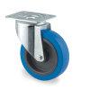 TENTE zwenkwiel, elastisch rubberband, plaatbevestiging, 100 mm, blauw