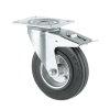 TENTE zwenkwiel, rubber, plaatbevestiging, dubbele rem, 160 mm