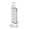Dura kompakt radiator, type 22, universeel, hoogte 300 mm, l = 1400 mm, 1319 W