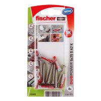 Fischer plug met spaanplaatschroef, rvs, type DuoPower