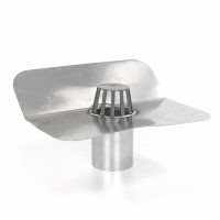 Aluminium kiezelbak met 45° hoeklijn, onderuitloop en bladvanger