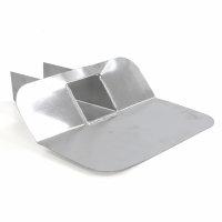 Aluminium kiezelbak met 45° hoeklijn, open uitloop 200 mm, zonder bladvanger