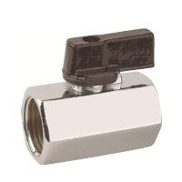 RIV messing verchroomde mini-kogelafsluiter, type 4010, 2x binnendraad