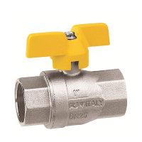 RIV messing verchroomde gaskogelafsluiter, type 7164, 2x binnendraad
