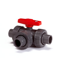 GF pvc 3-weg kogelafsluiter, type 543/90°, 3x uitwendig lijm/3x wartel