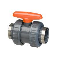 VDL pvc kogelafsluiter, 2x binnendraad/2x wartel