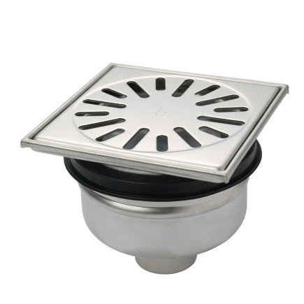 Vloerput met opzetstuk, 150x150 mm, onderaansl 50 mm, rvs 304 put, h=verstelb, rooster 2 mm  default 435x435