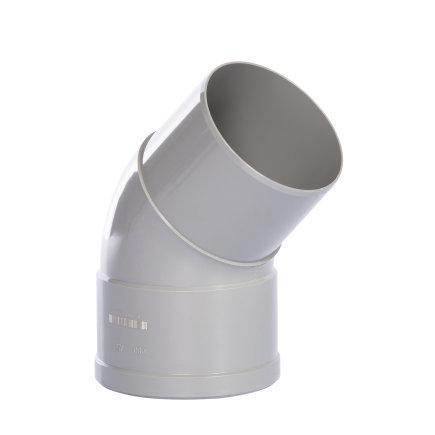 Pipelife hwa bocht 45°, pvc, inwendig lijm x verjongd spie, grijs, 80 mm