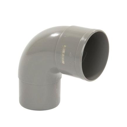 Pipelife hwa bocht 87°, pvc, inwendig lijm x verjongd spie, grijs, 80 mm