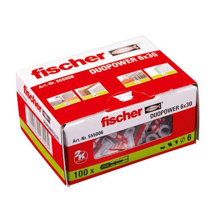 Fischer plug, type DuoPower, 6 x 30 mm, doos à 100 stuks
