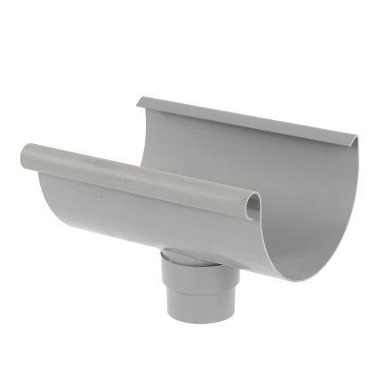 S-lon gootuitloop voor mastgoot, pvc, lijm, grijs, 180 x 70 - 80 mm