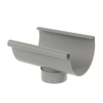 S-lon gootuitloop voor mastgoot, pvc, lijm, grijs, 180 x 100 mm