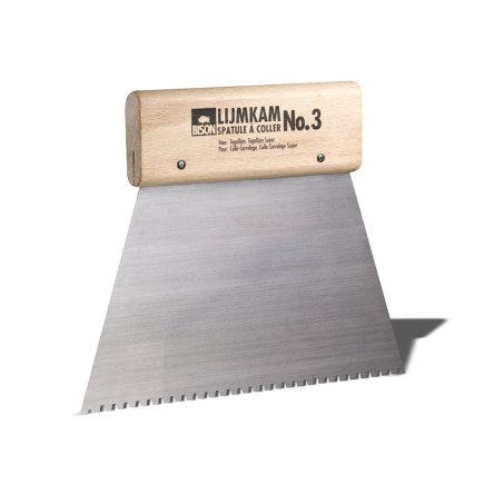 Bison lijmkam met houten handvat, nr. 3, lijmril b = 3 mm, h = 3 mm