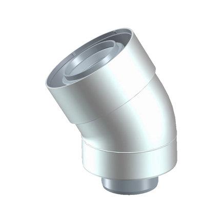 Ubbink UbiFit bocht 30°, concentrisch, met push-fit, pp, wit, 60/100 mm