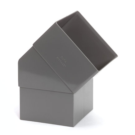 Hwa bocht 45°, vierkant, pvc, inwendig lijm x verjongd spie, 100 mm
